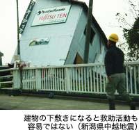 建物の下敷きになると救助活動も容易ではない(新潟県中越地震)