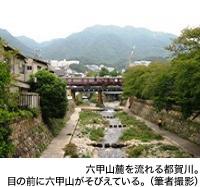六甲山麓を流れる都賀川。目の前に六甲山がそびえている。(筆者撮影)