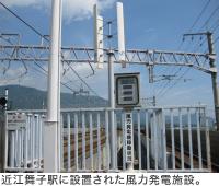近江舞子駅に設置された風力発電施設。